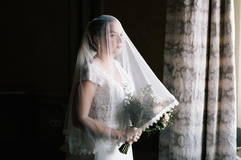 boda Castillo Santa Catalina novia con velo corto